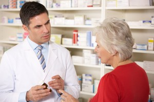 Pharmacist is helping a client