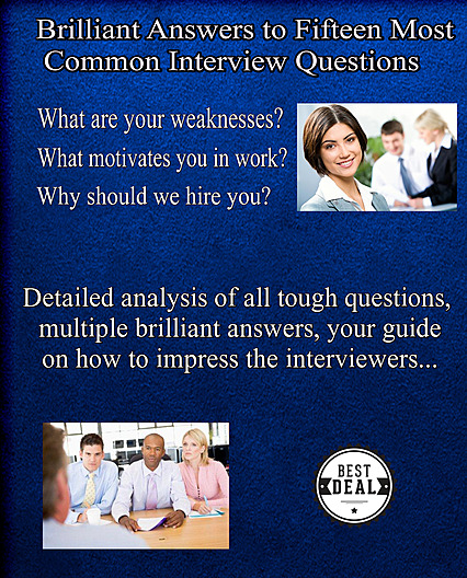15 most common interview questions and answers eBook cover, bonus material you'll get with your purchase